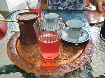 Bosnian coffee and Rose juice